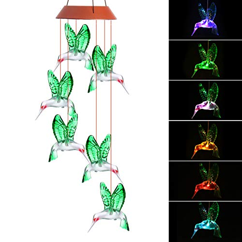 PATHONOR LED Hummingbird Solar Wind Chime, Changing Color Solar Six Hummingbird Wind Chime Solar Mobile Wind Chime Outdoor Mobile Hanging Patio Light for Valentines Gift Home Party (Hummingbird)