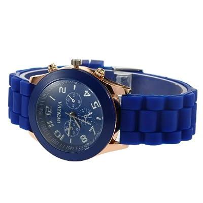 YKS Deep Blue Unisex Geneva Silicone Jelly Gel Quartz Analog Sports Wrist Watch