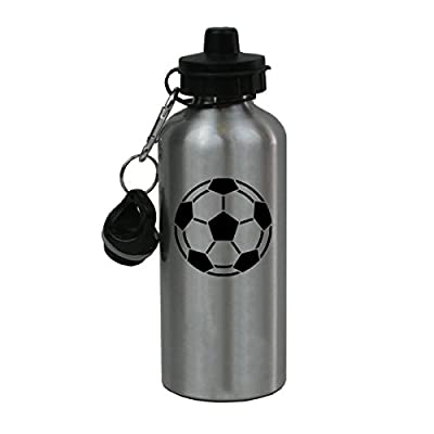 Personalized Custom Soccer Ball Aluminum Silver Finish 20 Ounce Water Bottle Customizable