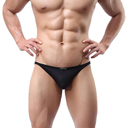 Sunward Men Ultra-thin Breathable Briefs Sexy Underwear (L, Black)