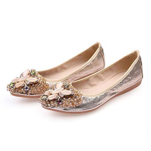 Otamise Women's Wedding Flats Rhinestone Slip On Foldable Ballet Shoes 7