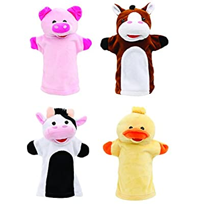 Animal House Talking Animal Hand Puppets Includes (4) Hand Puppets, Each with A Unique Animal Sound When You Squeeze   Baby Gift   Toddler Gift (Barnyard Freinds): Toys & Games