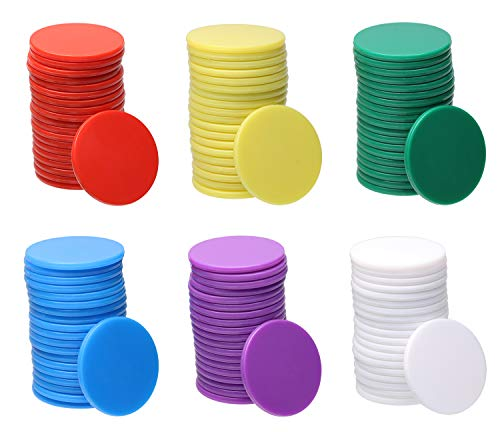Bingo Chips - Shapenty 6 Colors Small Plastic Learning Counters Disks Bingo Chip Counting Discs Markers for Math Practice and Poker Chips Game Tokens with Storage Box,120PCS (25mm / 1Inch)