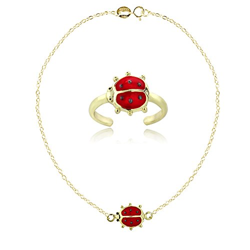 Yellow Ladybug Ring - Yellow Gold Flashed Sterling Silver Enamel Ladybug Anklet and Toe Ring Set