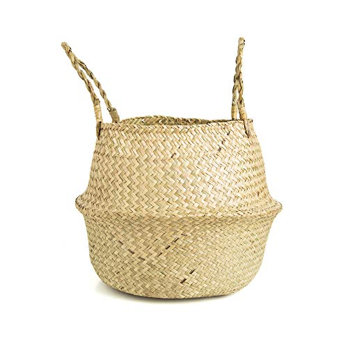 Axieso Large 14 Hand Woven Seagrass Wicker Basket for Plants – Boho Belly Plant Baskets for Shelves – Natural Sea Grass Storage Bin for Toys and Laundry – Decorative Collapsible Round Indoor Planter