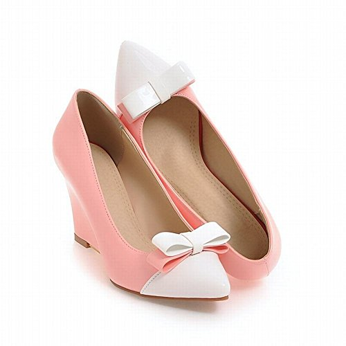 YE Damen Spitze Lack High Heels Keilabsatz Pumps mit Schleife Party Elegant Schuhe Rosa