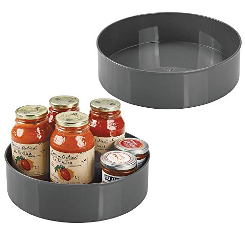 (mDesign Lazy Susan Turntable Food Storage Container for Cabinets, Pantry, Refrigerator, Countertops - Spinning Organizer for Spices, Condiments, Baking Supplies - 11.5
