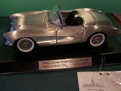Brand New 1957 Limited Corvette By Franklin Mint Pewter Gm Hang W/ Name & Base - Sports Memorabilia ()