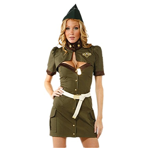 Halloween Costume Army Soldier Policewoman Stewardess Uniform Outfit Dress Cosplay