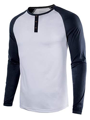 DAIKEN Mens Fashion Casual Long Sleeve T-Shirt Vintage Raglan Button Up Henley Baseball Shirts Men