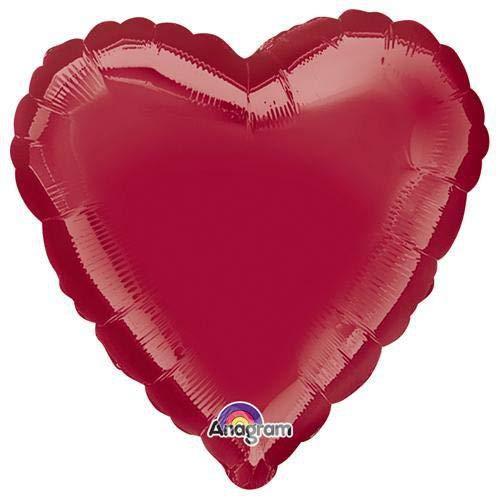 Anagram 22444 Heart - Dark Metallic Burgundy Foil Balloon, 18