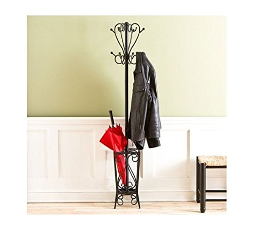 Wills Coat (This Bretton Steel Coat Rack Is an Ideal Home Storage Solution to Hang Coats, Scarves and Store an Umbrella. It Will Look Stylish in Your Entryway or Mudroom. The Rack Stands At 69 Inches and Making It Quickly Accessible, and the Four-legged Base Adds Stability.)