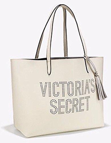 Purse Tote Bag Double Handbag - Victoria's Secret Double Strap Tote Bag Perforated VS logo White