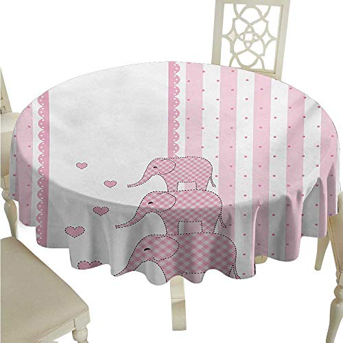 Elephant Nursery Elegant Waterproof Spillproof Polyester Fabric Table Cover Vertical Striped Backdrop with Cute Pink Animals with Hearts Retro Runners,Gatsby Wedding,Glam Wedding Decor,Vintage Weddin