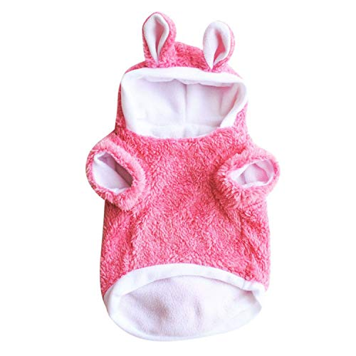 (shine-hearty Winter Pet for Small Dogs Cute Rabbit Ear Hooded Dog Coat Jacket Costume for Puppy,Pink,L)