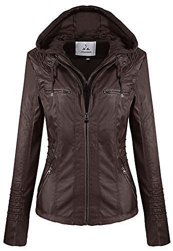 Showlovein Women Hooded Faux Leather Jacket Hat Detachable Motorcycle Jacket (XXXX-Large, Dark Brown) (Womens Brown Leather Bomber Jacket With Hood)