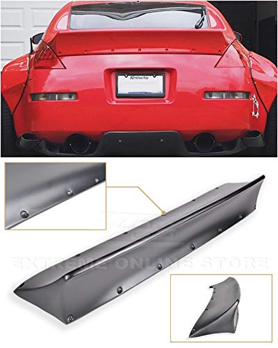 Replacement for 2003-2008 Nissan 350Z Fairlady Z34 | EOS Rocket Bunny Style Fiberglass Primer Black Duckbill Rear Trunk Lid Wing Spoiler