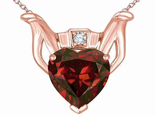 Garnet Claddagh Pendant (Star K Claddagh Love Pendant Necklace with 8mm Heart Genuine Garnet 14 kt Rose Gold)