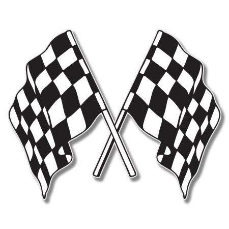 Checkered Flags Racing Vinyl Sticker - Car Phone Helmet Bumper Sticker ()