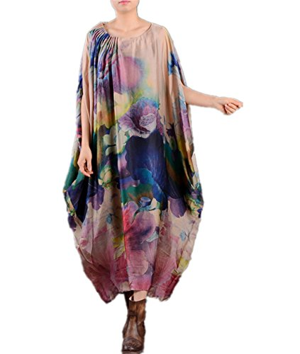 Yesno JO6 Loose Floral Baggy Caftan Dress 100% Silk 'Lotus' Printed Pleated Neck Summer Beach /Slip (Dress Printed Silk)