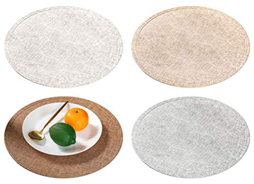 GlobalDream Salvamanteles, 4 Piezas Prueba de Fugas Manteles Individuales PU Mantel Individual Tapetes para Mesa de Comedor Kitchen Placemat (Redondo, 38cm)