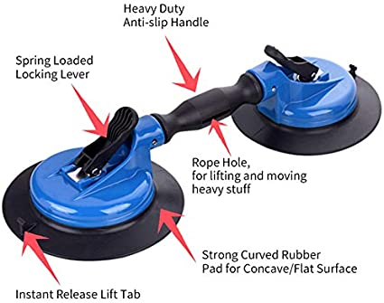 """IMT 8/"""" and 10 Bundle Sale Glass Suction Cup with Metal Handle Heavy Duty Hand-held Vacuum Cup Glass Lifter with Metal Handle with Free Carrying Case"""