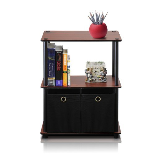 Furinno 99152DC/BK/BK Go Green 3-Tier Multipurpose Storage Shelf with Bins, Dark Cherry/Black