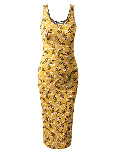 JJ Perfection Women's Scoop Neck Slim Fit Sleeveless Stretchy Tank Midi Dress MUSTARDFLORAL ()