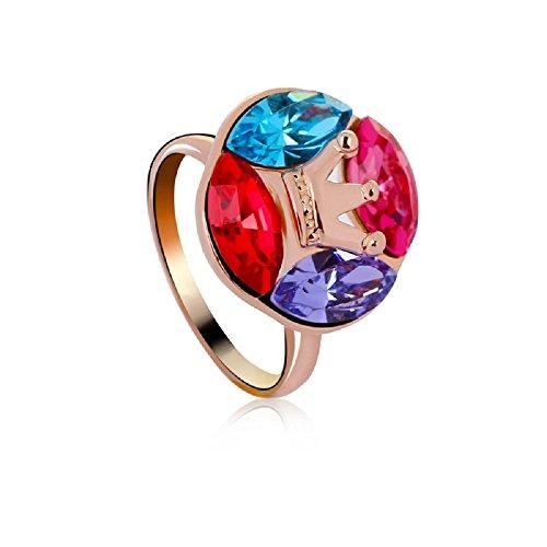 J&F - Bague femme avec cristaux Swarovski Crystal, plaqué or rose