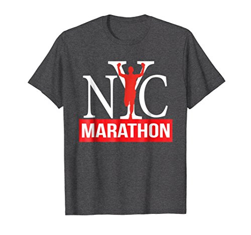 Mens NYC Marathon Runner T-shirt, Run New York Marathon Shirt Large Dark ()
