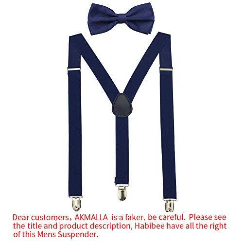 HABIBEE Solid Color Mens Suspender Y Shape with Strong Clips Adjustable Braces (Navy) -