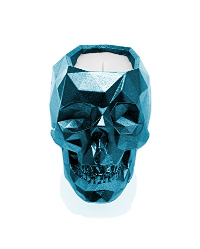 Candellana Candles Candlefort Candles Concrete Skull-Orient Vanilla, Blue Metallic