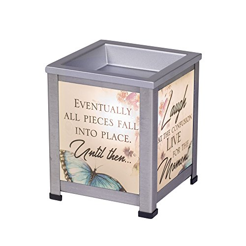 Elanze Designs Laugh Live Moment Silver Tone Metal Electrical Wax Tart and Oil Glass Lantern Warmer