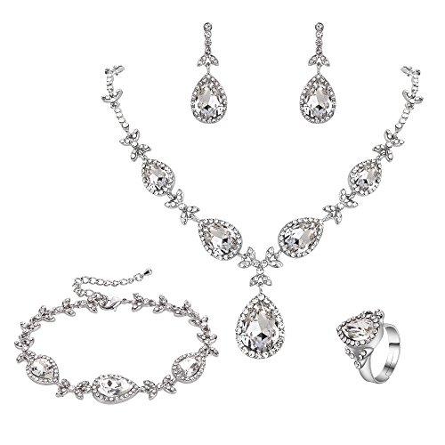 Fancy Dangle Bracelet - BriLove Wedding Bridal Necklace Earrings Bracelet Ring Jewelry Set for Women Crystal Floral Leaf Teardrop Y-Necklace Tennis Bracelet Dangle Earrings Resizable Ring Set Clear Silver-Tone