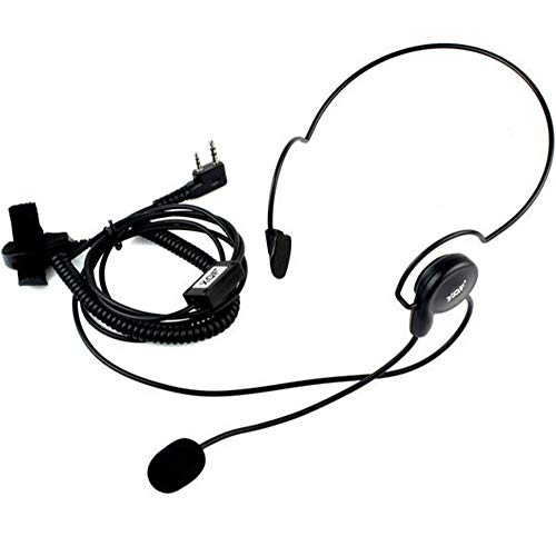 XQF 2 Pin Behind-The-Head Headset with Microphone Walkie Talkies Earpiece with Finger PTT for Kenwood TK Puxing Wouxun BaoFeng Two Way Radio
