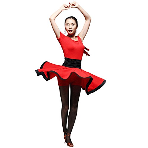 Faship Womens Dance Dress Black Red Ballroom Latin Tango Rumba Cha Cha Samba Red X-Large -