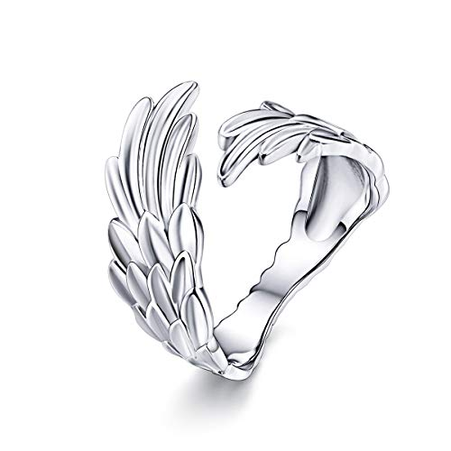 - Eternalll Jewellery Butterfly Ring Sterling Silver Rings for Women Open Ring Adjustabl Animal Rings for Teen Girls Women Jewelry Birthday (Feather Ring)
