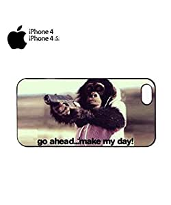 Monkey with Gun Go Ahead Mobile Cell Phone Case Cover iPhone 4&4s Black