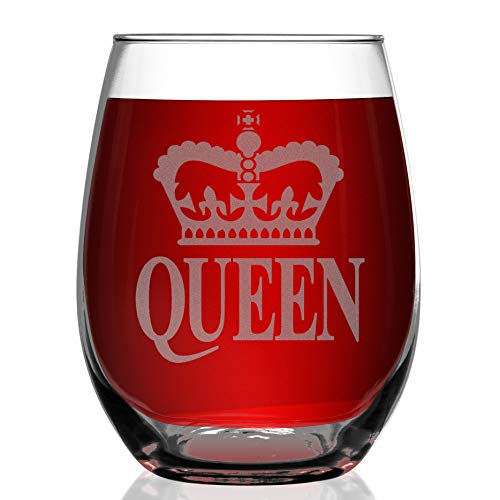 - Shop4Ever Crown Queen Laser Engraved Stemless Wine Glass ~ Anniversary Wedding Engagement Newlyweds Couples Gift for Her ~ (15 oz, Stemless)