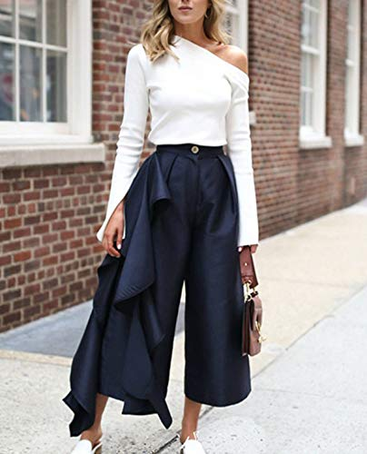 Unie Shirts Shirt Slim T Mode Printemps et Blouse paule Longues Femmes Manches Tops Jumpers Automne Tee Couleur Chemisiers Blanc Casual Oblique Hauts 7xwRqZB