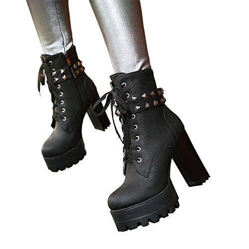 Motorcycle Heel Booties Calf Black3 Cowboy Susanny Buckle Lace High Leather Women's Boots up Mid Military Ankle A6qPaY