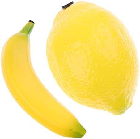 H HILABEE 最高級2ピースプラスチックフルーツシェーカーマラカガラガラおもちゃ黄色、バナナレモン