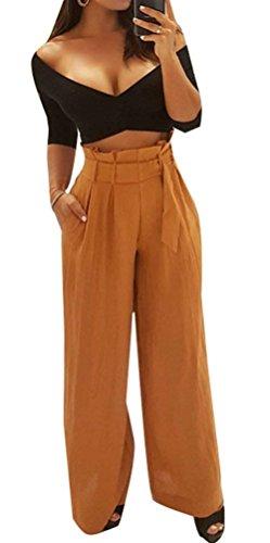 Donna Pantaloni Baggy Fashion Eleganti High Waist Tempo Libero Pantaloni Estivi Vintage Ragazze Giovane Sciolto Monocromo Cintura Inclusa Pantaloni Palazzo Pantaloni Per Donna Giallo