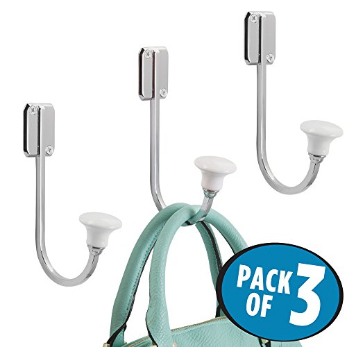 mDesign Wall Mount Decorative Solid Metal & Ceramic Single Storage Organizer Hook for Coats, Hoodies, Hats, Scarves, Purses, Leashes, Bath Towels & Robes – Hardware Included, Pack of 3, Chrome/White (Hook White Ceramic Robe)