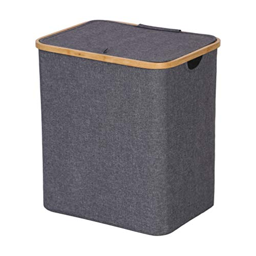 OCDLIVERER 81L Large Collapsible Bamboo Frame Toy Storage,Toy Chest,Nursery Storage with Lid for Kids Storage,Clothes Hamper,Laundry Basket in Playroom, Living Room and Bed Room(Large, Grey) (Frame Toy)