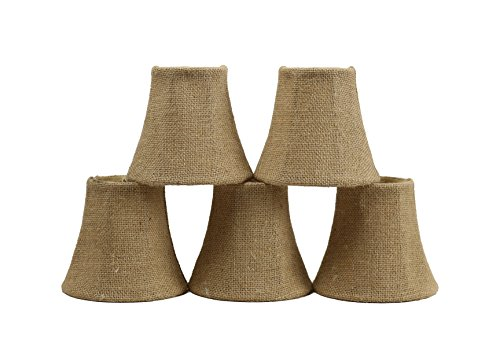 Set of 5 Burlap Chandelier Shades, 3-inch Top Dia, 5-inch Bottom Diameter, 4.5-inch Height, Bell Shape, Clip ()