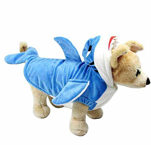 Cat Shark Fin Costume (Scheppend Pet Shark Cosplay Costume for Dogs Halloween Funny Hoodies Coat, L)