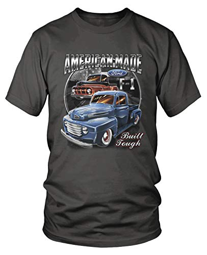 Amdesco Men's Ford Classic Trucks F-1 T-Shirt, Charcoal Grey -