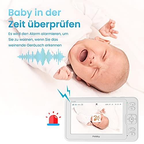Babyphone mit Kamera,Pelaby 5 Zoll IPS 1080P Video Baby Monitor,Infrarot-Nachtsicht,Temperatur- und Tonalarm,Wiegenlied,Zwei-Wege-Audio,300M Reichweite,110° Weitwinkel,3600 mAh,Videowiedergabe