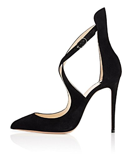 Pumps Pointed Sammitop Crisscross Heels Stiletto Ladies Women's High Toe Strappy Buckle Shoes Ankle Suedeblack Strap wrx5q8Ar